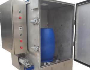 Single stage drum washer contaminated with solvents